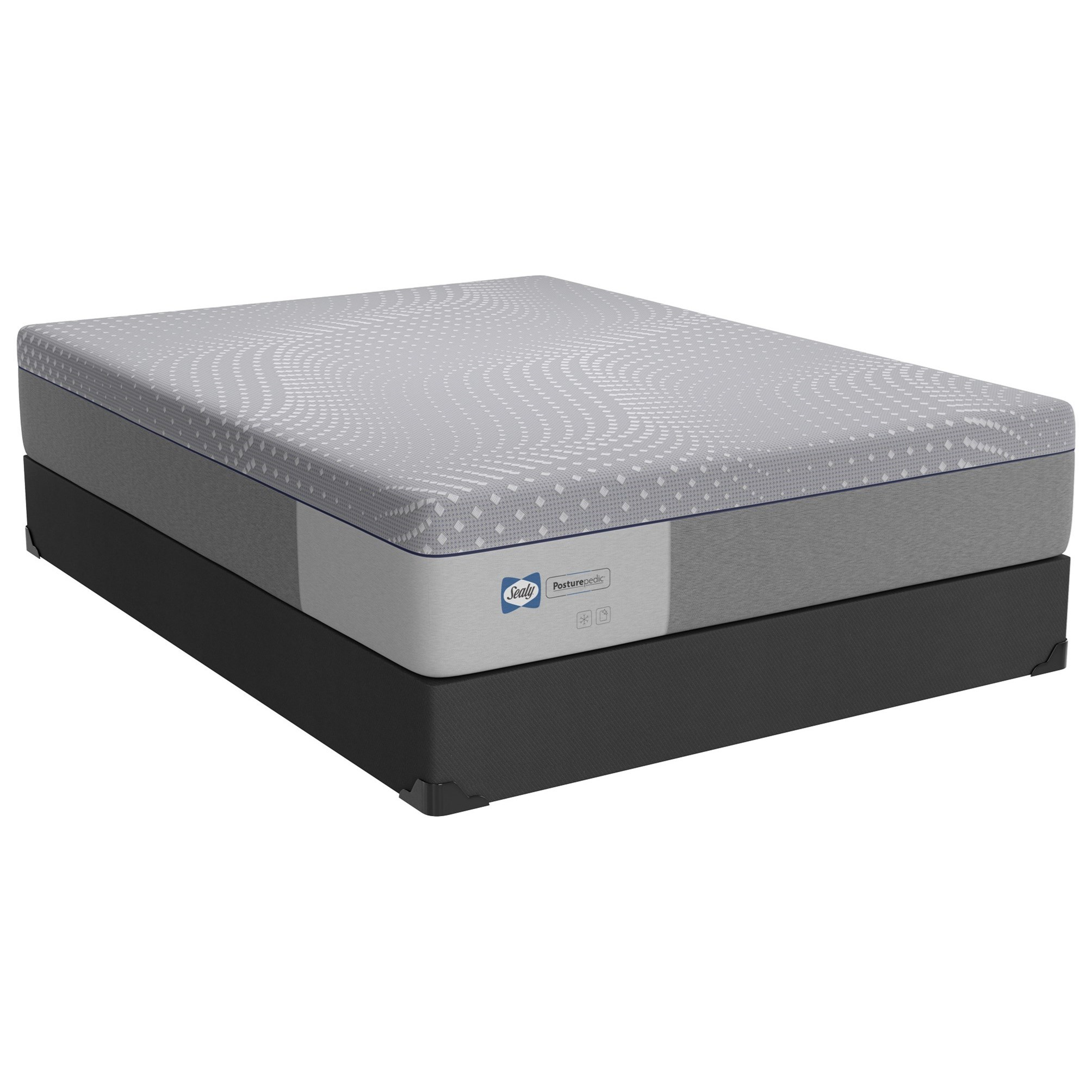"PPF5 Posturpedic Foam Firm Queen 13"" Firm Gel Memory Foam Matttress Set by Sealy at Novello Home Furnishings"