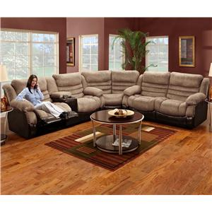 Corner Configured Reclining Sectional Sofa with Left Side Console