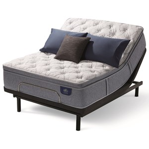 King Plush Pillow Top Hybrid Mattress and Divided King Motion Essentials III Adjustable Base