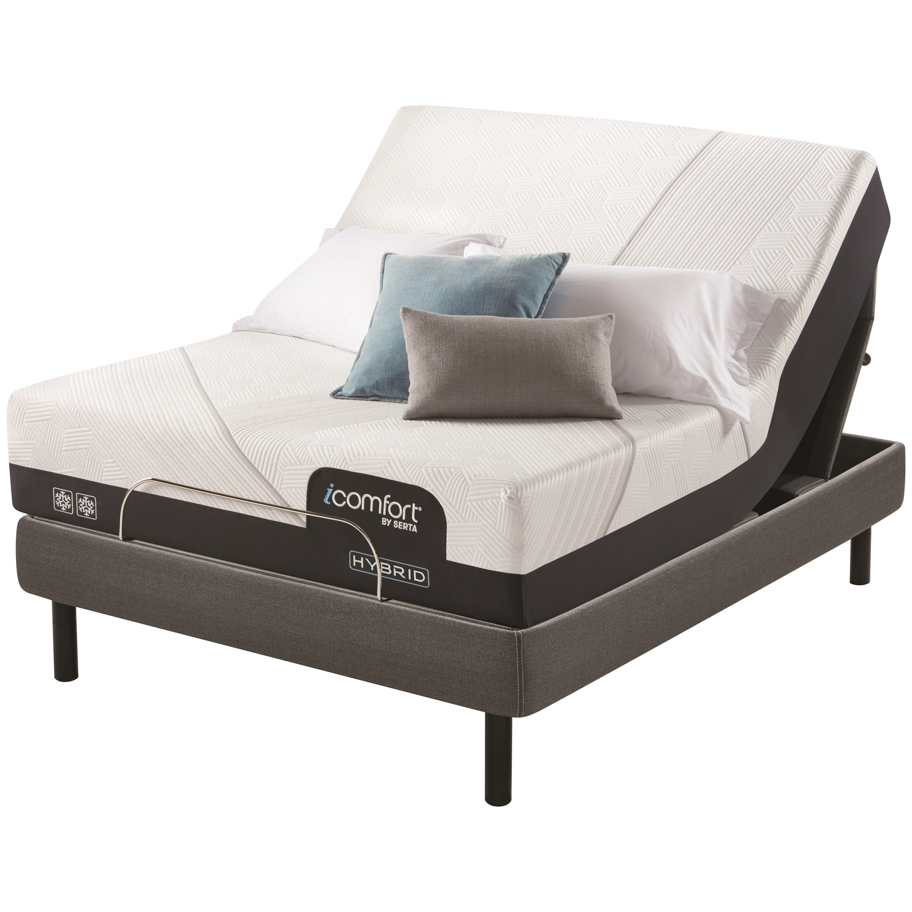 "CF2000 Hybrid Firm King 12 1/2"" Firm Hybrid Adj Set by Serta at Miller Waldrop Furniture and Decor"