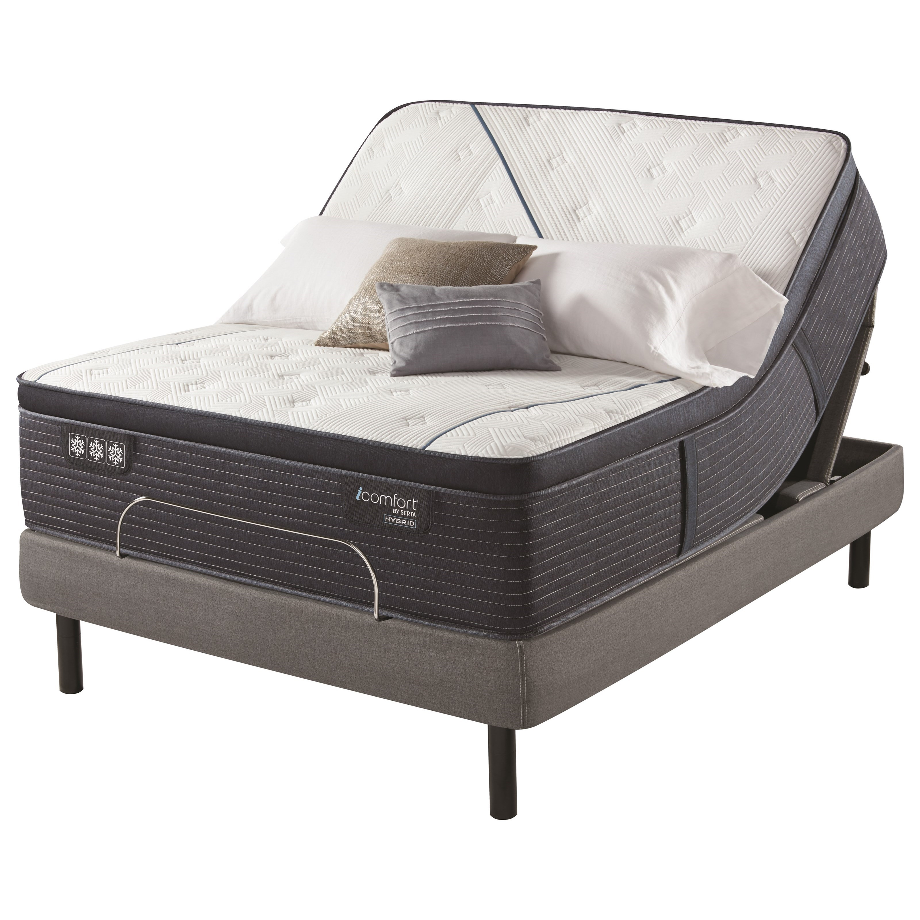 "CF3000 Quilted Hybrid II Plush PT Split King 14 3/4"" Plush PT Hybrid Adj Set by Serta at Prime Brothers Furniture"