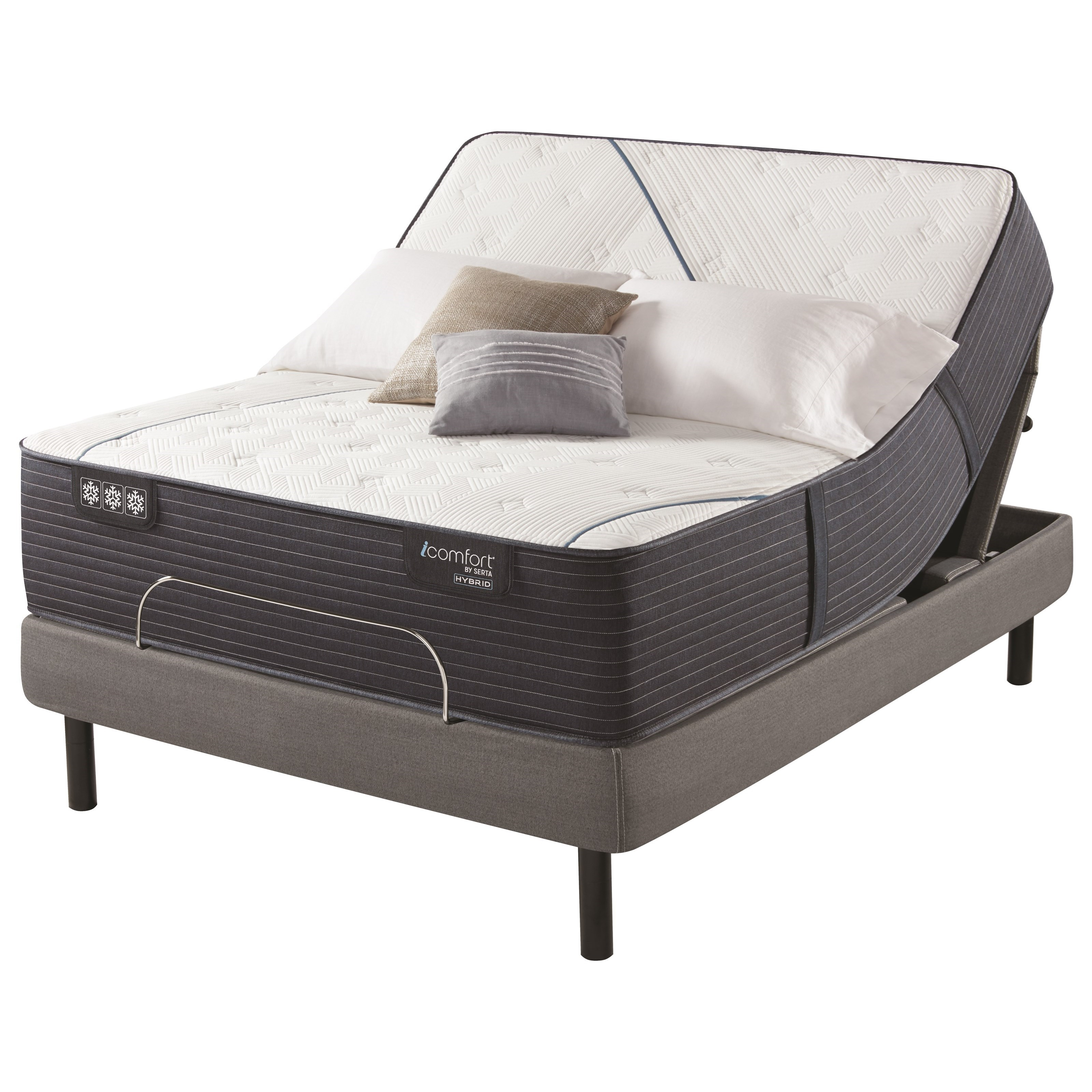 "CF4000 Quilted Hybrid II Extra Firm King 14 3/4"" Extra Firm Hybrid Adj Set by Serta at Prime Brothers Furniture"