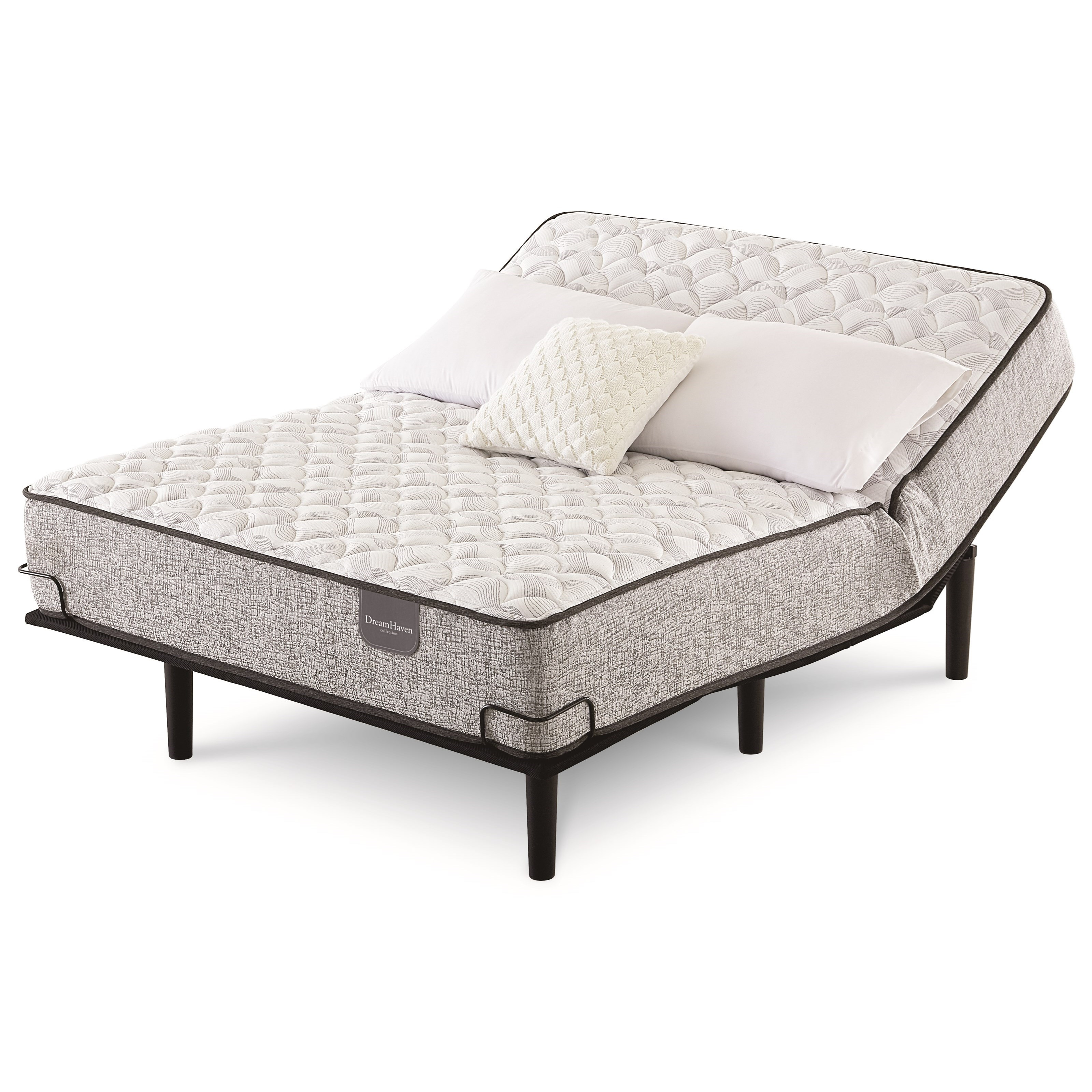 Crystal Downs Firm King Pocketed Coil Adj Set by Serta at Goffena Furniture & Mattress Center