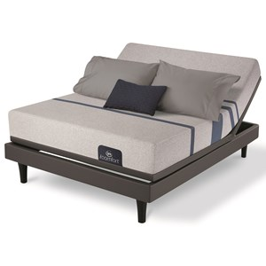 King Gentle Firm Gel Memory Foam Mattress and One Piece Divided King Motionplus Adjustable Foundation