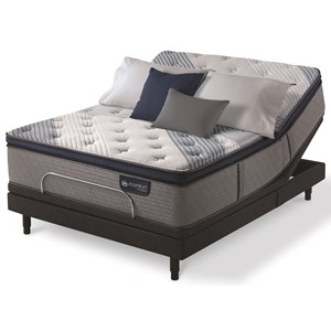 King Plush Pillow Top Hybrid Mattress and One Piece Divided King Motionplus Adjustable Foundation