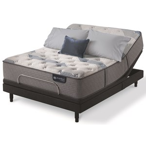 King Plush Hybrid Mattress and One Piece Divided King Motion Essentials IV Adjustable Base