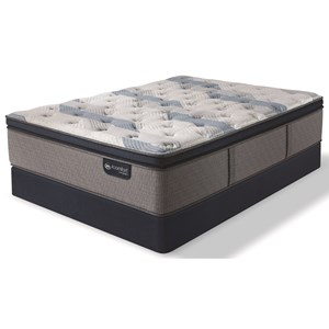 Cal King Plush Pillow Top Hybrid Mattress and Blue Fusion High Profile Foundation