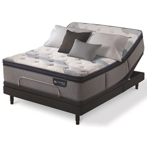 King Plush Pillow Top Hybrid Mattress and One Piece Divided King Motion Essentials IV Adjustable Base
