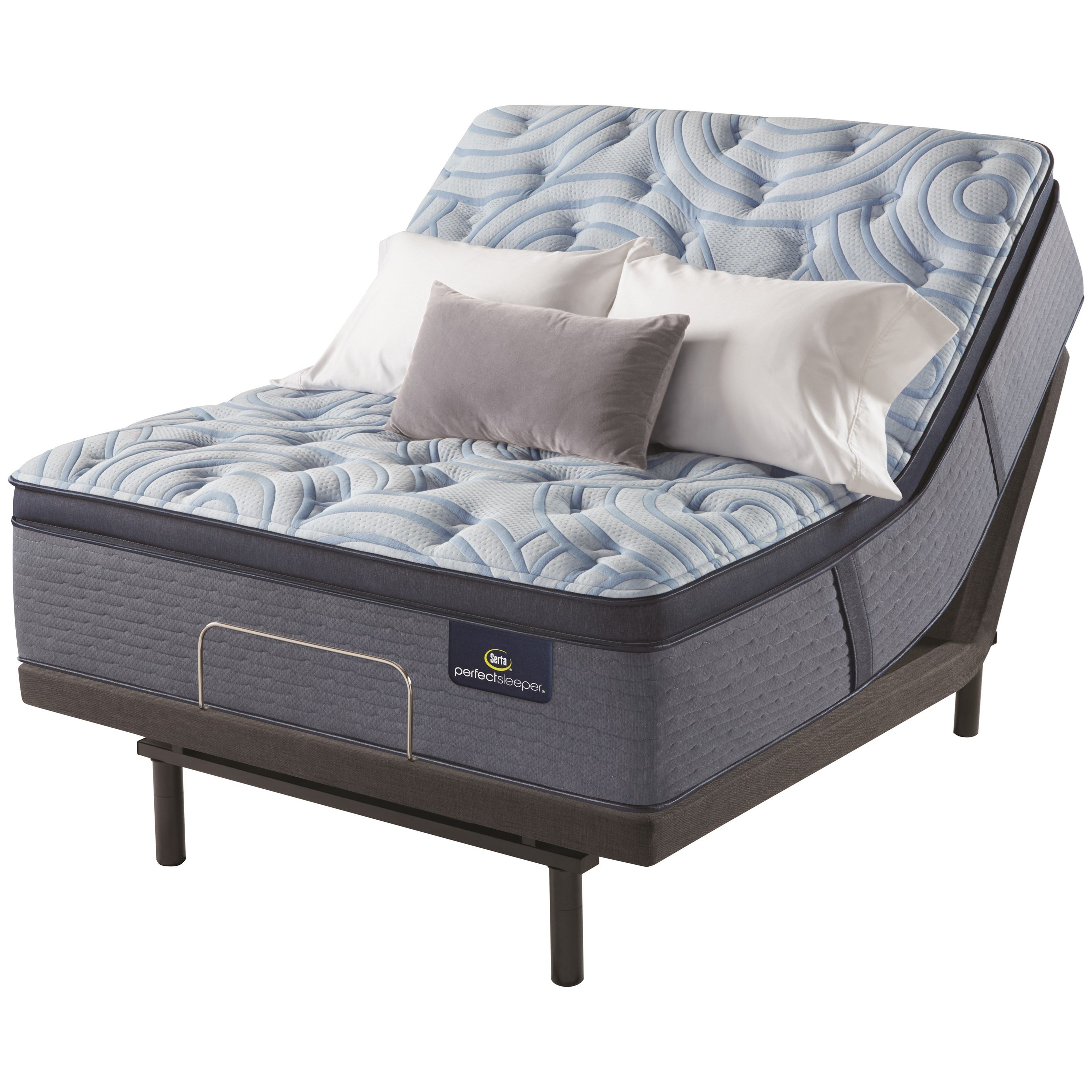 "Luminous Sleep Plush Pillow Top Cal King 17 1/2"" Plush Pillow Top Adj Set by Serta at Goffena Furniture & Mattress Center"
