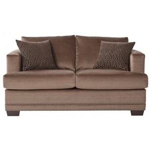 Deco- Modern Loveseat with Nailhead Trim