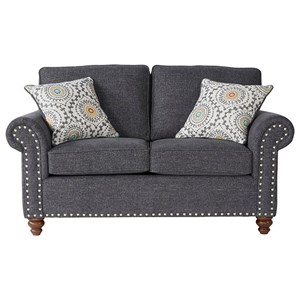 Traditional Rolled Arm Loveseat with Nailhead Trim