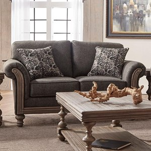 Traditional Upholstered Loveseat with Rolled Arms
