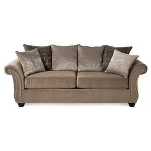 Traditional Stationary Sofa with Nailhead Trim