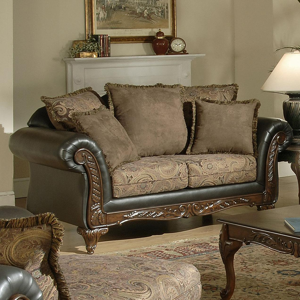 7685 Wood Face Love Seat by Hughes Furniture at Lapeer Furniture & Mattress Center