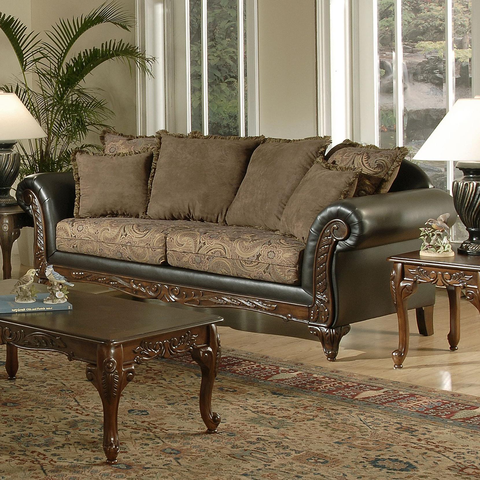 7685 Pillow Back Sofa by Hughes Furniture at Lapeer Furniture & Mattress Center