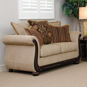 Traditional Stationary Loveseat with Intricate Moldings