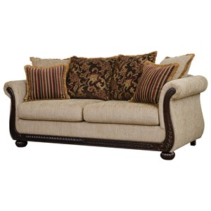 Traditional Stationary Sofa with Intricate Molding