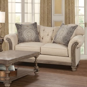 Traditional Stationary Loveseat with Tufted Back
