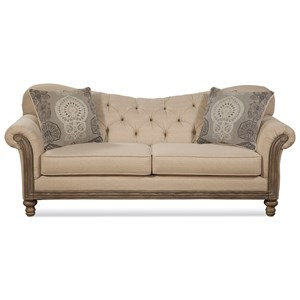 Traditional Stationary Sofa with Tufted Seatback