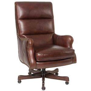 Classic Styled Leather Desk Chair with Nail Head Trim