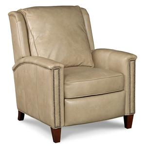Transitional High Leg Recliner with Nailhead Trim