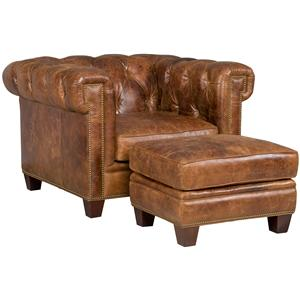 Transitional Chesterfield Chair and Ottoman Set