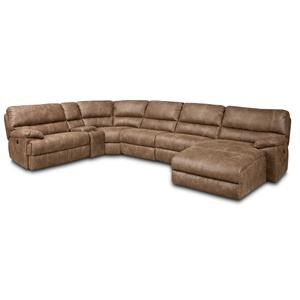 Hooker Furniture SS616 6 Piece Power Sectional w/ Left Chaise