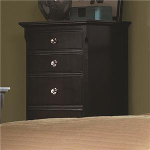 Transitional Five Drawer Chest with Bright Metal Knob Hardware