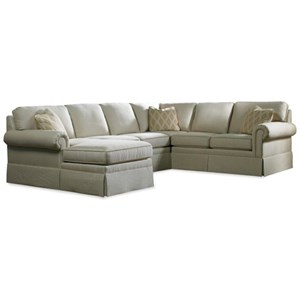 Skirted Six Piece Sectional Sofa with LAF Chaise
