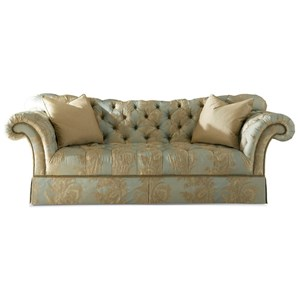 Traditional Skirted Sofa with Tufted Sweetheart Back and Nailheads