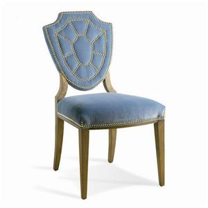 Upholstered Shield Back Dining Side Chair with Nailhead Trim