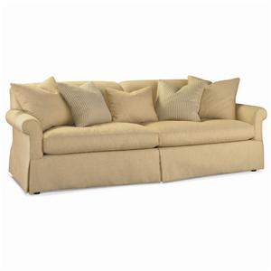 Rolled Arm Sofa with Array of Accent Pillows