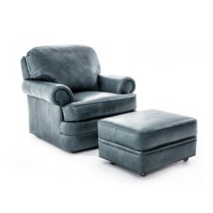 Customizable Rolled Arm Chair and Ottoman Set