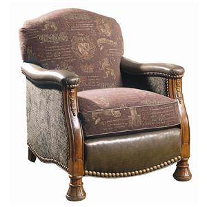 Leather and Fabric, Carved Lounge Chair with Nailhead Trim