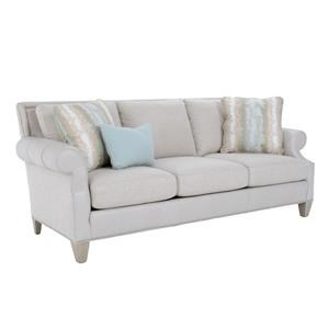 Rolled Arm Sofa with Framed Back and Custom Nailheads