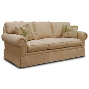 Sofa with Loose Cushion Back and Round Panel Arms