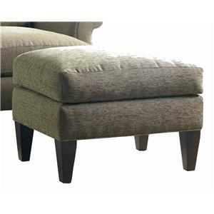 Double Layered Lounge Ottoman with Tapered Wood Legs