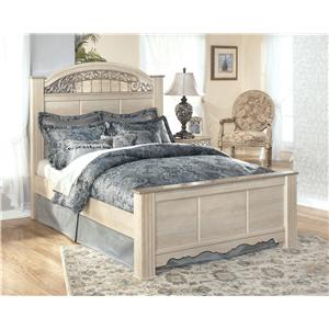 King-Size Poster Bed with Ornate Headboard Insert