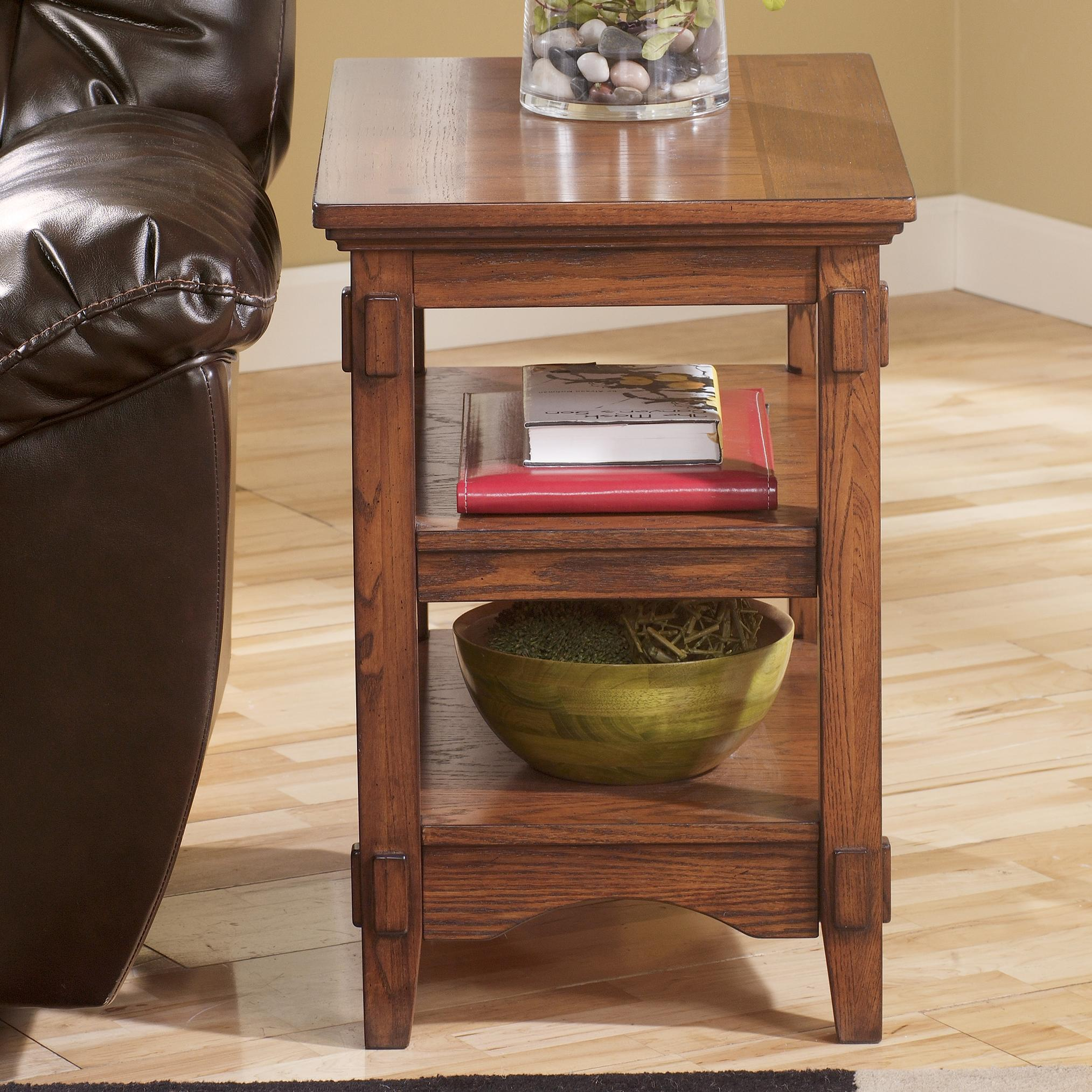 Cross Island Chairside End Table w/ Shelves by Signature at Walker's Furniture