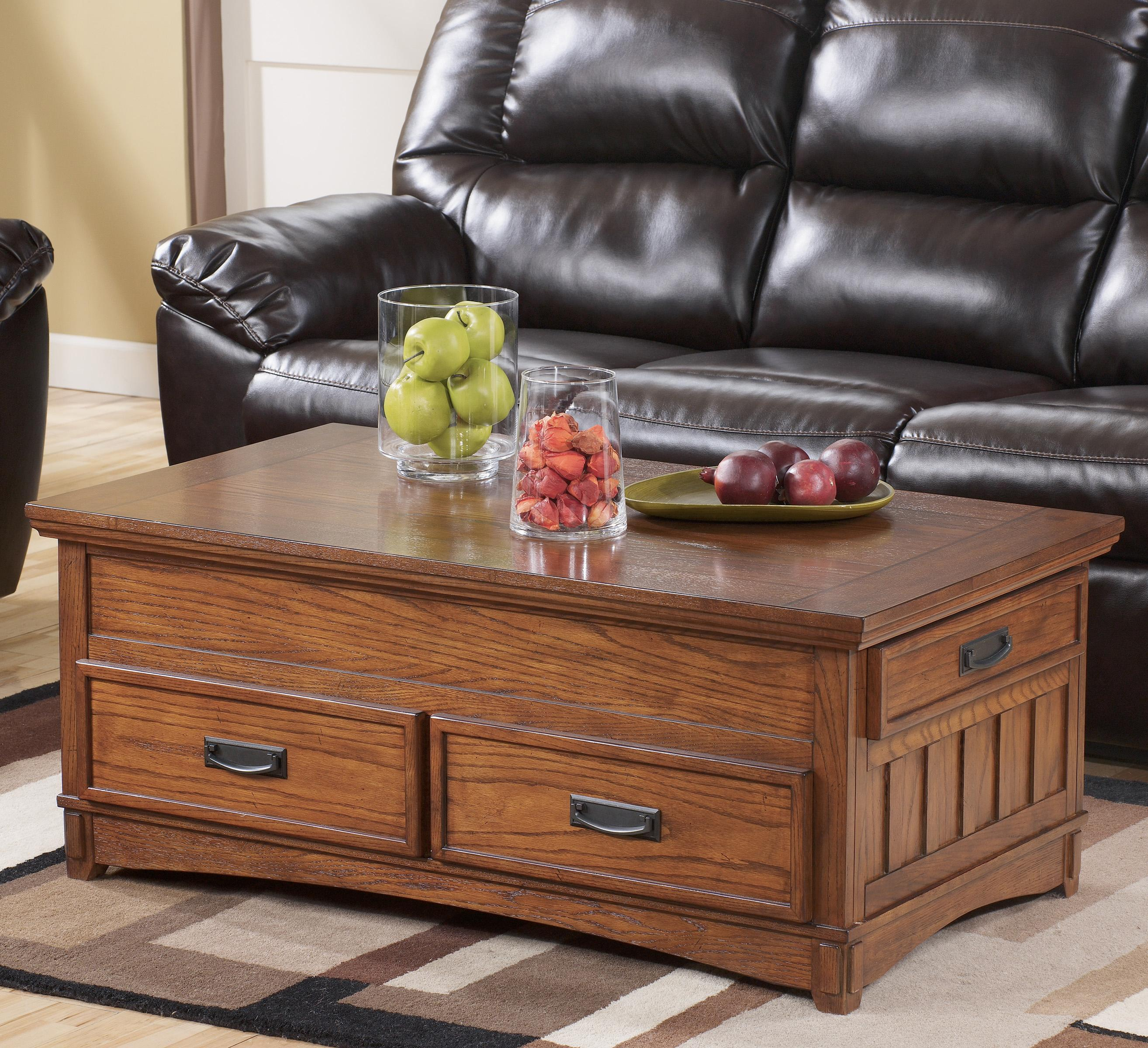 Cross Island Rect Storage Lift-Top Cocktail Table by Signature at Walker's Furniture