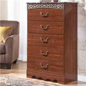 5 Drawer Chest with Decorative Frieze and Faux Stone Top