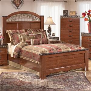 Queen Poster Bed with Ornate Scrolled Insert