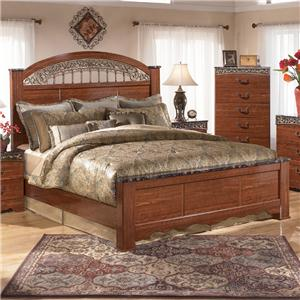 King Poster Bed with Ornate Scrolled Insert