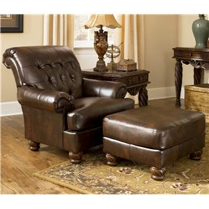 Signature Design by Ashley Furniture Fresco DuraBlend - Antique Upholstered Chair and Ottoman