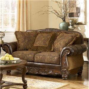 Traditional Stationary Loveseat with Bun Wood Feet