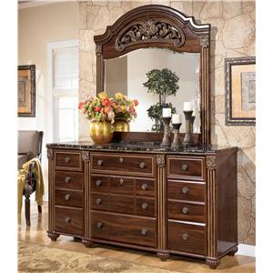Signature Design by Ashley Gabriela 9 Drawer Dresser with Mirror