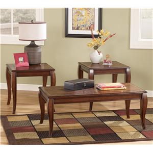 Transitional 3-in-1 Pack Occasional Tables in Cherry Finish