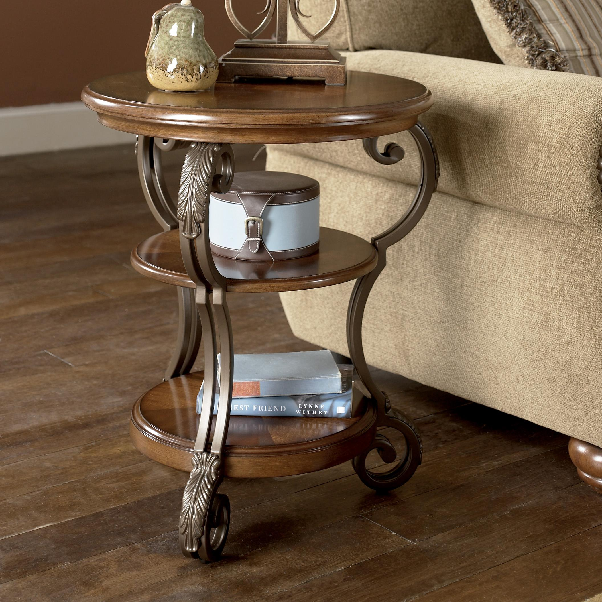 Nestor Round Chairside End Table by Signature Design by Ashley at Beck's Furniture