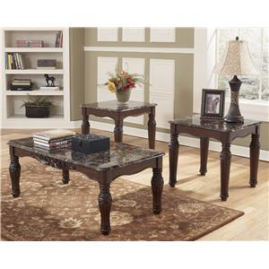 3-in-1 Pack Traditional Occasional Table Group with Faux Marble Tops