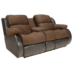 Signature Design by Ashley Presley - Espresso Upholstered Reclining Love Seat